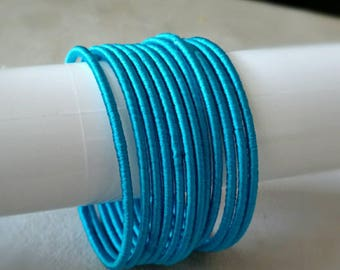 Light Blue Silk Thread Bangles ~ Set of 12 - Silk Thread Woven Bangles ~ Ethnic Indian Accessory ~ Favor/Return Gifts