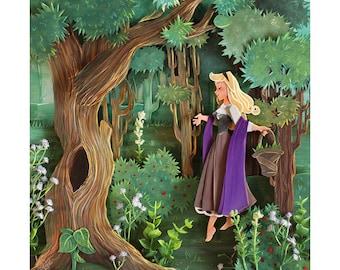 PAPER CUT PRINT Princess Aurora