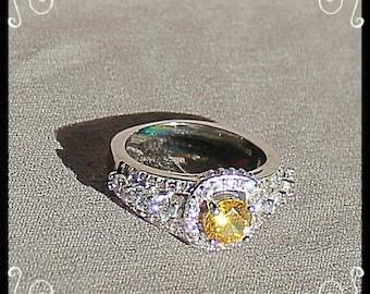 Sterling Silver Citrine & CZ Ring