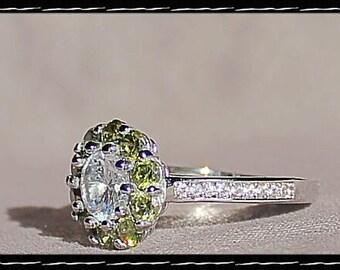 Sterling Silver Peridot & CZ Ring