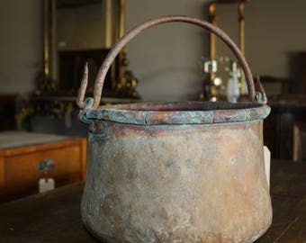 Vintage Copper Pot with Hand Forged Iron Handle from Italy
