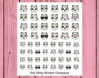 Mauly Emoti Faces - Hand Drawn IttyBitty Kitty Collection - Planner Stickers