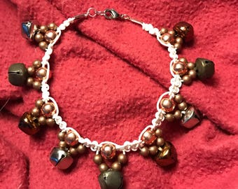 Handmade beaded anklet with bells