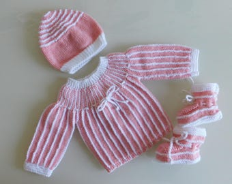 set baby pink bra hand knitted baby booties and bonnet