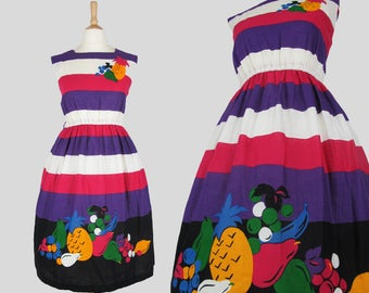 70s Vintage Pink, White and Purple Striped Novelty Sun Dress Dress with Fruit and Button Detail Small/Medium