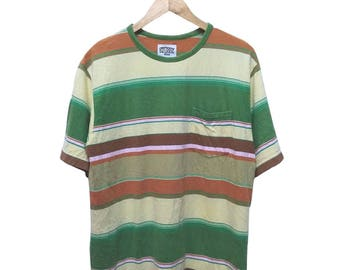 Hot Sale!!! Rare Vintage 90s STUSSY Single Pocket Striped T-Shirt Hip Hop Skate Swag Medium Size