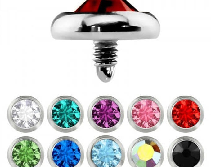Dermal Anchor Head with 2mm, 3mm and 5mm Round Color Gem