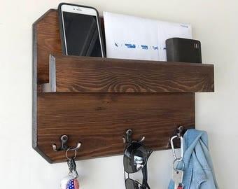 Woodymood Lovely Wall Organizer Shelf, Key Rack ,Coat Hooks, Mail Holder , Brown