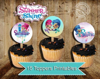 Shimmer and Shine, Shimmer Shine Party, Cupcake toppers, Shimmer Shine circles, Shimmer Shine birthday, instant download
