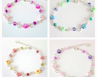Polymer flower bracelets