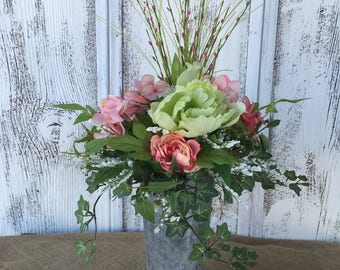 Spring Floral Arrangement in a Galvanized Tin, Summer Floral Arrangement, Easter Decor, Wedding Centerpiece, Mothers Day, Pastel Floral