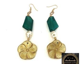 Floral earrings, art nouveau earrings, green drop earrings, green earrings, extra long earrings, statement earrings, Christmas earrings
