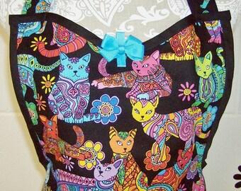 Women's Cat Apron / Timeless Treasures Color Me Cat Coloring Multi on Black / Cat Apron / Party Hostess Gift  / 100% Cotton #B10