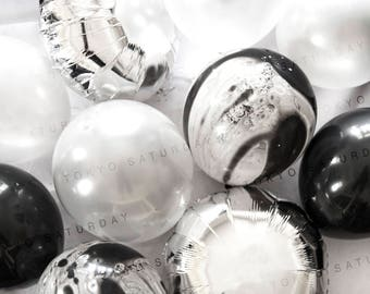 Silver and Black Marble Foil Balloon Bouquet, Christmas, Birthday, Wedding Party- AU Free Shipping