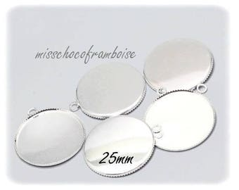 10 PCs cabochon 25mm silver metal support