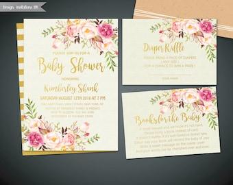 Baby Shower Invites, Baby Shower Invitation Printable, Gold Baby Shower Invitation, Baby shower invite, Girl and boy baby shower invite set