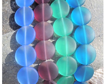 Cultured sea glass coin puffeds beads  15 mm, 6 pcs