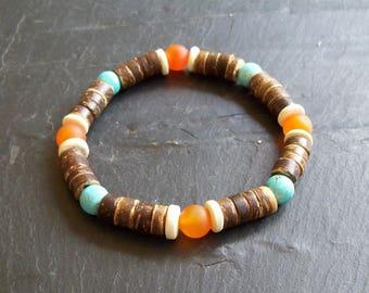 Men's Coco Bead Bracelet - Men's Bracelet - Coco Bead Bracelet - Man's bracelet - Fathers day - Surfer Man's coco Bead Bracelet