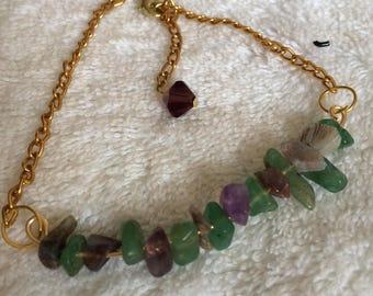 Amethyst And Jade Bar Bracelet
