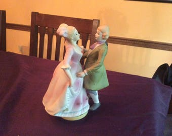 Vintage Dancing colonial couple musical box figurine.