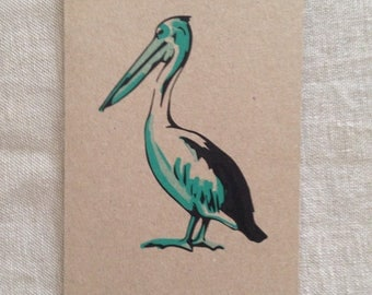 Pelican Green Card, greeting card, blank card, kraft paper, rustic card, raw, any occasion card, organic card, nature, sea creature card