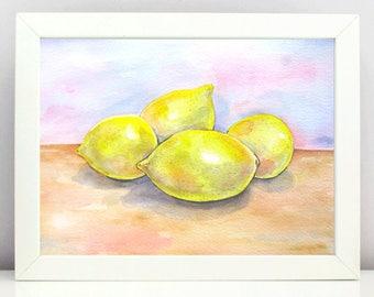 Lemon painting Original watercolor painting  Watercolor Still life  Fruit painting  Kitchen Wall Art  Watercolor lemons