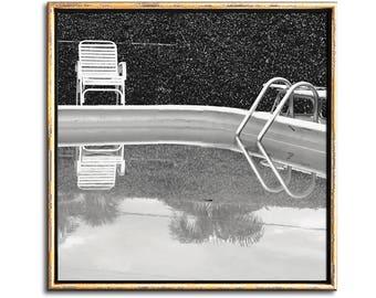Swimming Pool Art, Beach House Decor, Black and White, Swimming Pool Decor, Printable Art, Wall Art, Art Print, Wall Prints, Modern, Beach