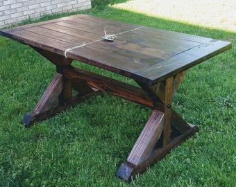 Farm House Table Breadboard, Breadboard Table, Farm Table, Dining Room Table, Dining Table, Trestle Table, Farm House Table