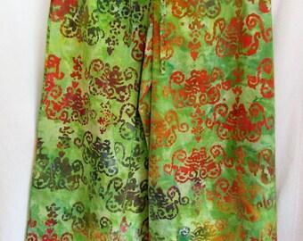 Batik print wide leg trousers