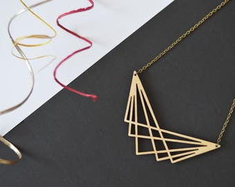 Laser cut wooden necklace - Laser cut necklace - Wooden necklace - Wooden jewelry - Laser cut jewelry - Geometric necklace - Gifts for her