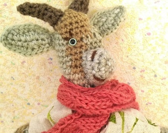"""Amigurumi goat, """"Sakura"""", the Tricolor biquette, wearing a spring shabby with a cherry flower garden note"""