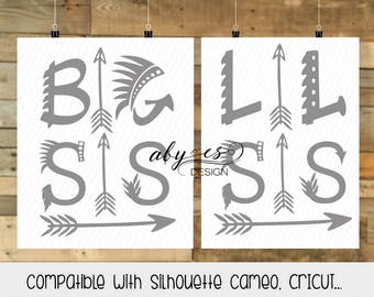 Big Sis, Lil Sis SVG, tribial SVG, Boho Svg, DXF, Png, cut files, Cricut, Silhouette, cameo, arrow svg