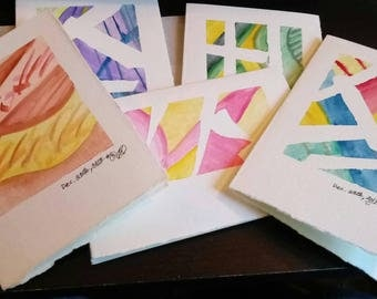 5 watercolor folded note cards + envelopes (22A)