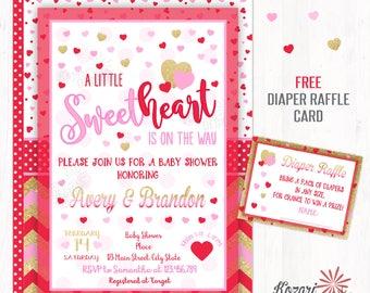 Sweetheart Baby Shower Invitation,  Valentines Baby Shower Invitation