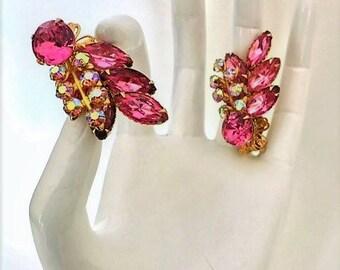 Vintage Beau Jewels Earrings Pink AB Rhinestones 1950's Mint Cond DAZZLING