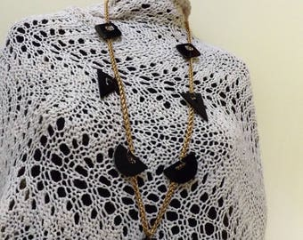 Modern natural black onyx necklace