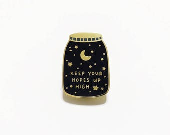Minor Cosmetic Flaw* Keep Your Hopes Up High Cosmic Galaxy Space Enamel Pin Badge