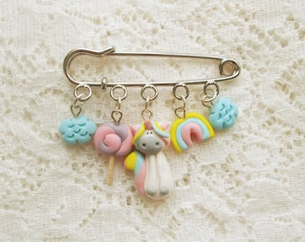 Cute unicorn charm brooch, Polymer clay pin, Handmade jewlery, Unicorn pin