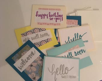 Variety of small handmade cards