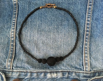 Black Pom-pom Necklace