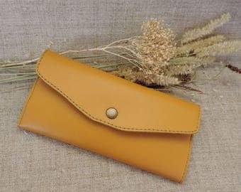 Women leather wallet Mustard slim bifold card holder coin purse long card wallet purse travel minimalist zip pouch womens purse phone case