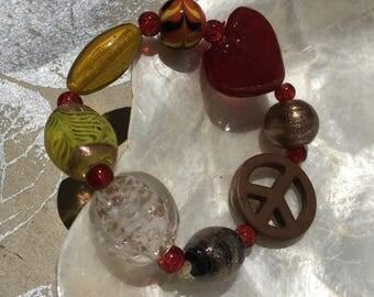 Bohemian Bold Bracelet, Gypsy Soul, Red Heart, Peace Sign, Statement Beads, Copper, Yellow, Orange, Black, Foil Beads, Funky Jewelry