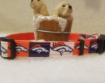 Broncos Handmade Dog Collar 5/8 Inch Wide Medium & Small