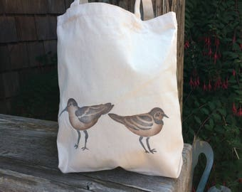 Shorebirds handpainted cotton bag, canvas tote for markets or festivals, book or project bag. Knitting, school, groceries, shopping,