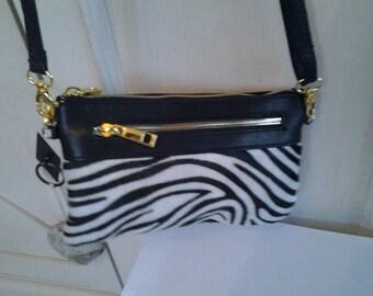 Designer imitation Zebra and black faux leather bag