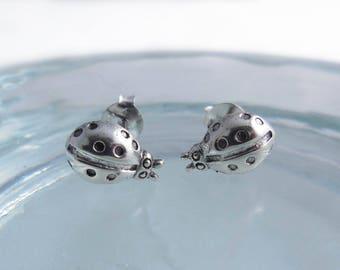 925 Sterling Silver Ladybug Earrings, Ladybug Studs, Ladybug Earrings, Ladybug Jewelry, Tiny Ladybug, Insect Earrings, Insect Jewelry, Bug