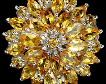 Natural AAA Yellow Citrine Marquise-Round Sterling 925 Silver Ring 14K White Gold Coating