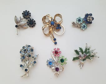 Absolutely Stunning! Classic Mad Men Style - 60s and 70s Fashion Brooches! Floral Themed - Rhinestone/Crystal Stones - Wonderful Condition!