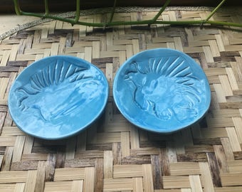 Two Handmade Ceramic LionFish Trinket Dishes
