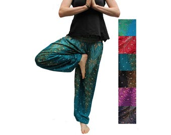 Fairtrade Harem Pants Unisex Peacock in Turquoise/Blue/Red/Black/Purple/Midnight Blue /Yoga Pants / Alladin Pants / Maxi Pants/ Gypsy Pants